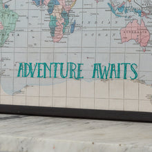Adventure awaits embroidered map