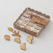 Wooden transport mix pins/magnets