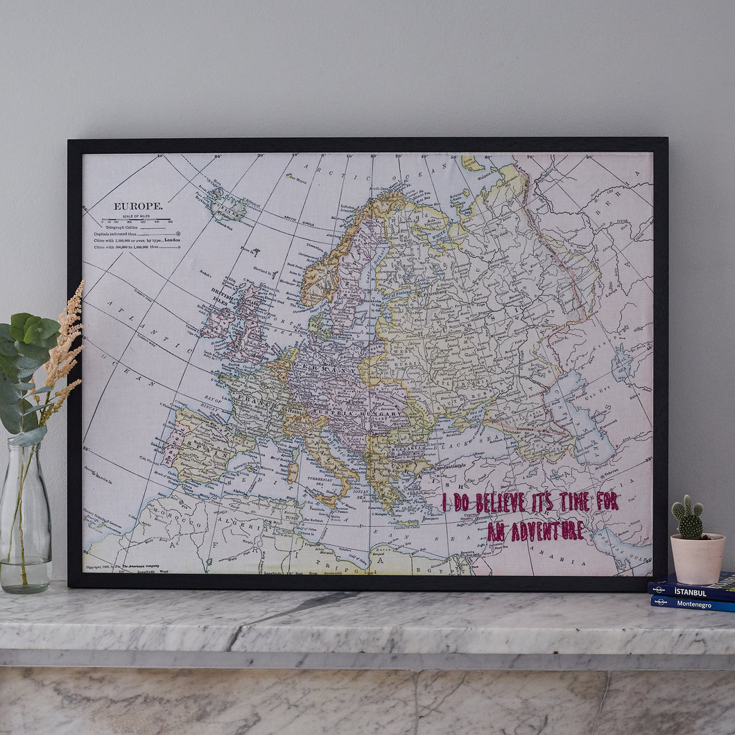Personalised Europe embroidered world map