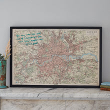 Personalised London embroidered world map
