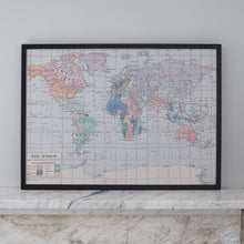 Plain world map notice board