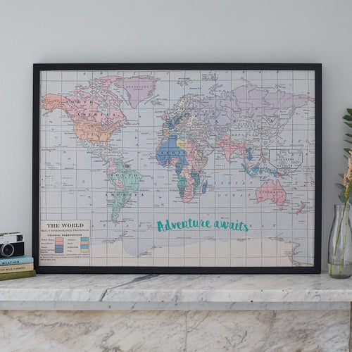 Adventure awaits large world map notice board