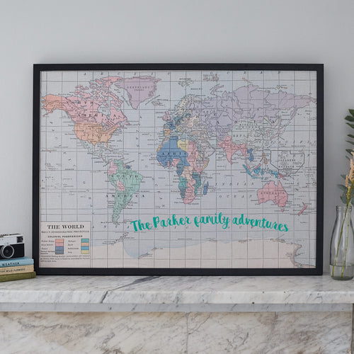 Personalised printed world map