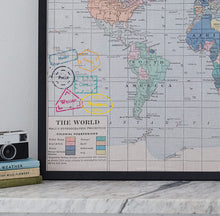 Personalised passport stamp printed world map