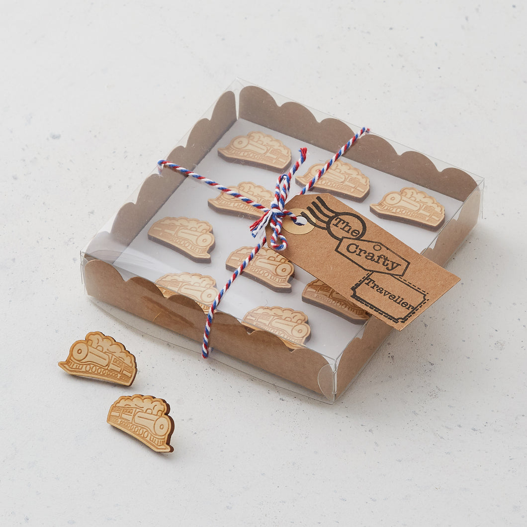 Wooden train pins/magnets