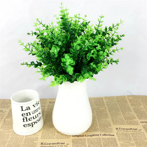 Artificial Green Leaves Potted Plant with Vase
