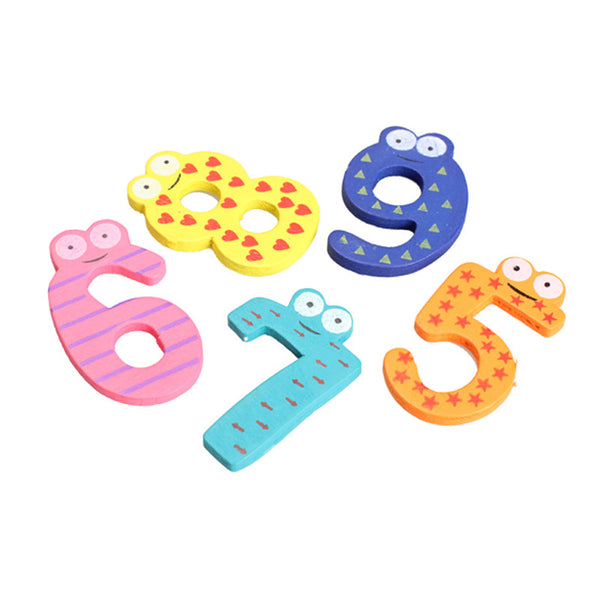 Kitchen Refrigerator Wooden Number Magnets - 10 pieces