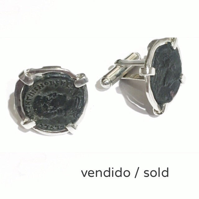 Cufflinks with Roman coins