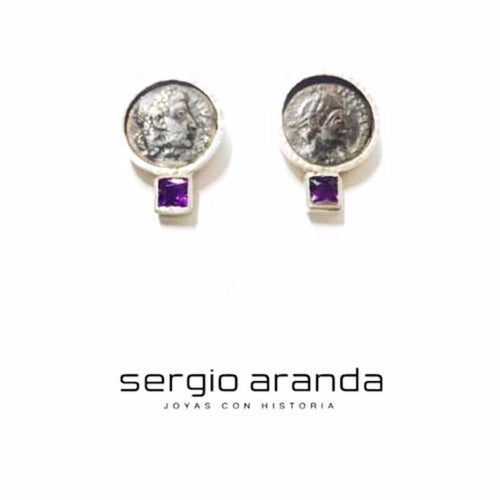 Earrings with roman coins and amethyst