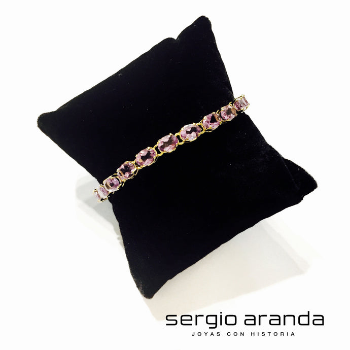 Bracelet in silver gold plated with amethysts