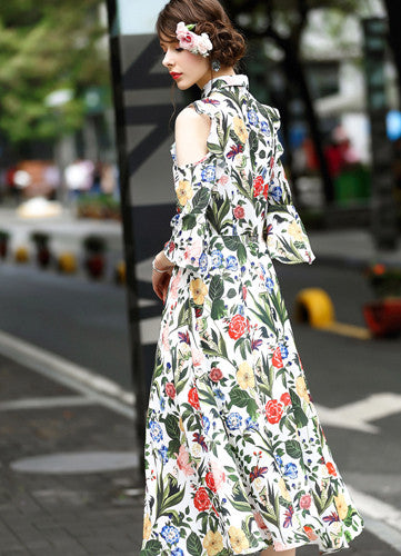 Trinidad | Cold Shoulder Floral Dress