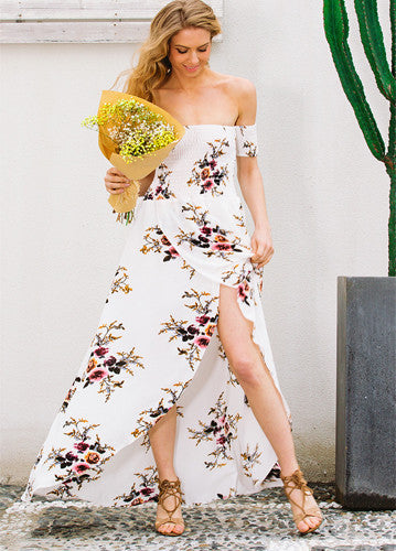 Alondra | Off Shoulder Floral Split Long Dress