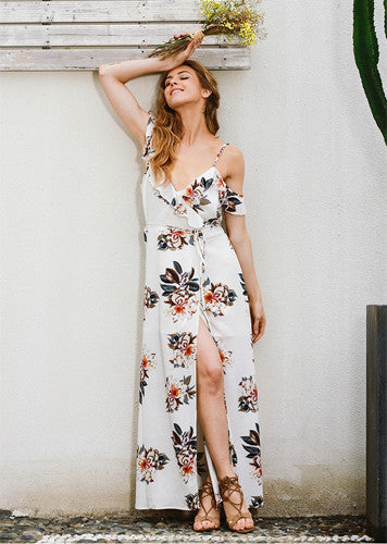 Antonietta | V Neck Floral Long Dress