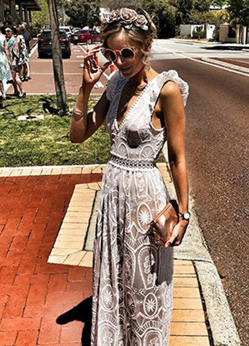Vera | White Lace Sleeveless Nude Long Maxi Dress
