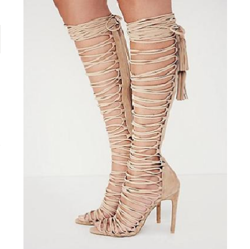 Clementina | Knee High Gladiator Lace Up High Heels Party Shoes