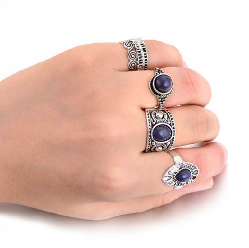 Muraya | Antique Silver Knuckle Ring Set