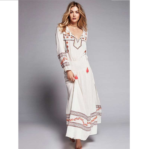 Lyuba | Ankle Length A-line Embroidered Hippie Maxi Dress