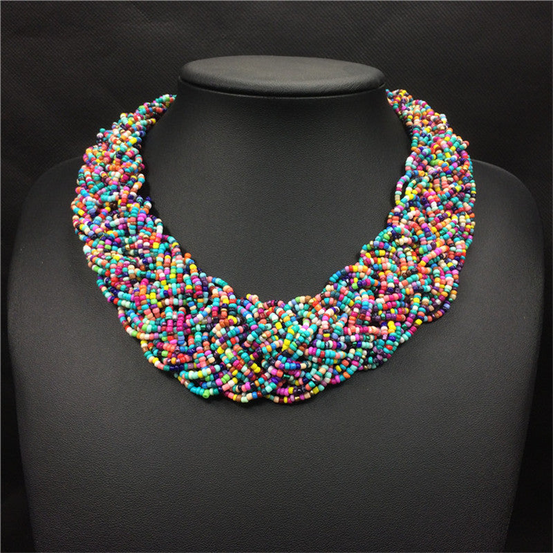 Menowin | Multi-layer Beads Wide Choker Boho Necklace