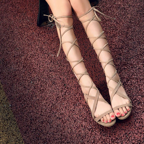 Chavee | Lace Up Knee High Gladiator Flat Sandals