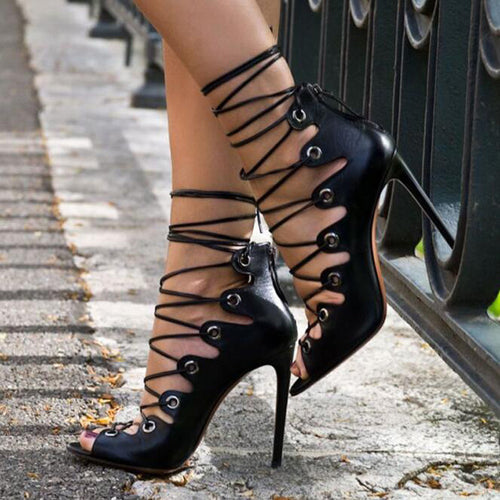Elderia | Sexy Lace Up Open Toe High Heeled Gladiator Sandals