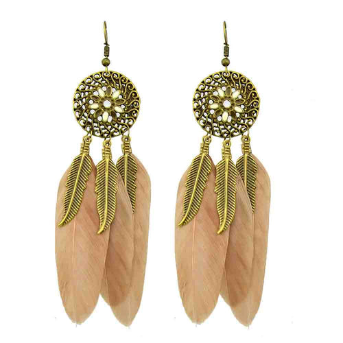 Naomie | Antique Gold Plated Feathery Long Dangle Earrings