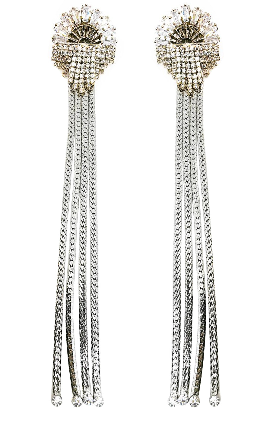 GLASS CRYSTAL STUD FRINGE DROP EARRINGS