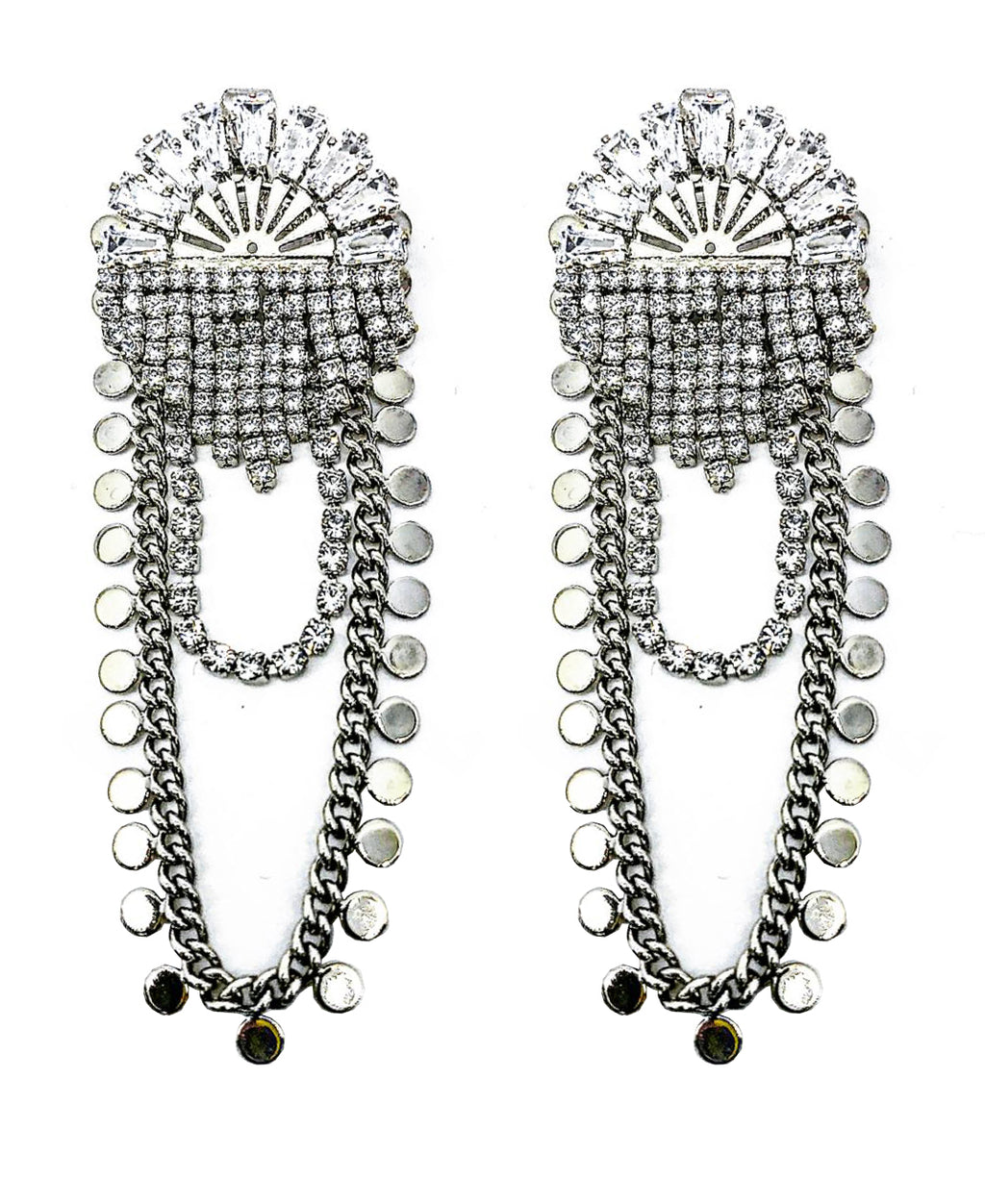 DETACHABLE GLASS CRYSTAL STUD DROP  EARRINGS