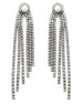 FAUX PEARL STUD GLASS CRYSTAL FRIGNE DROP EARRINGS