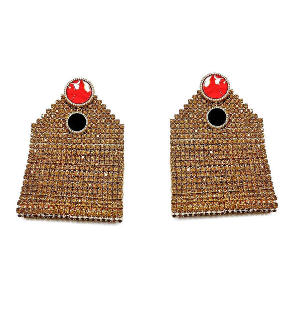 GOLD REGTANGULAR RED STUD EARRING
