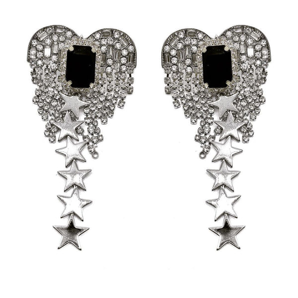 HEART GLASS CRYSTAL FRINGE DRIPING STAR EARRING