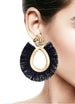 DETACHABLE FRINGE OVAL DROP GLASS CRYSTAL EARRINGS