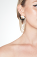 ROUND STUD CHAIN CYRSTAL DROP EARRINGS