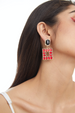 RECTANGULAR STUD WITH SQUARE SHAPE DROP EARRINGS