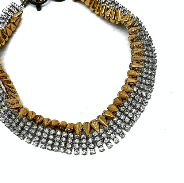ROCK STYLE STUD STATEMENT NECKLACE