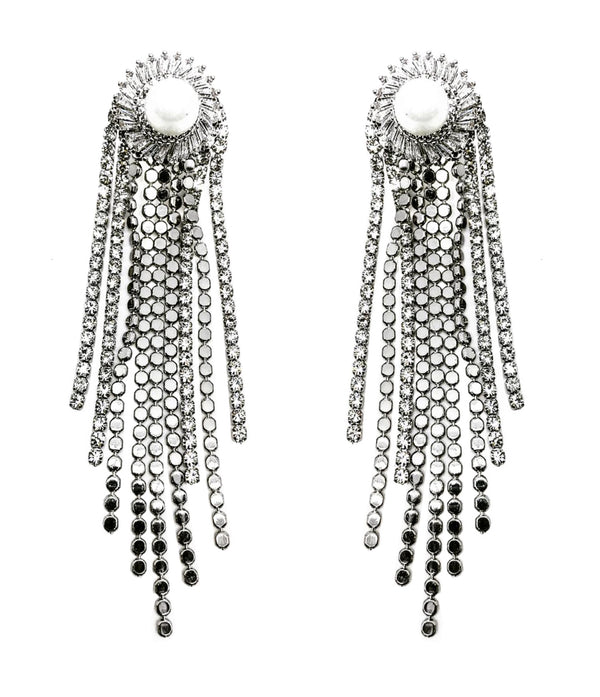 PEARL STUD SILVER FRINGE DROP EARRINGS