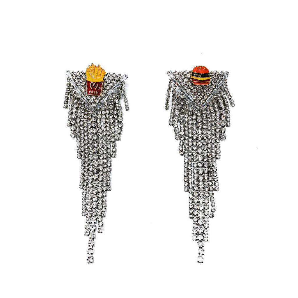GLASS CRYSTAL HAMBURGER FRIES FRINGE DROP EARRINGS