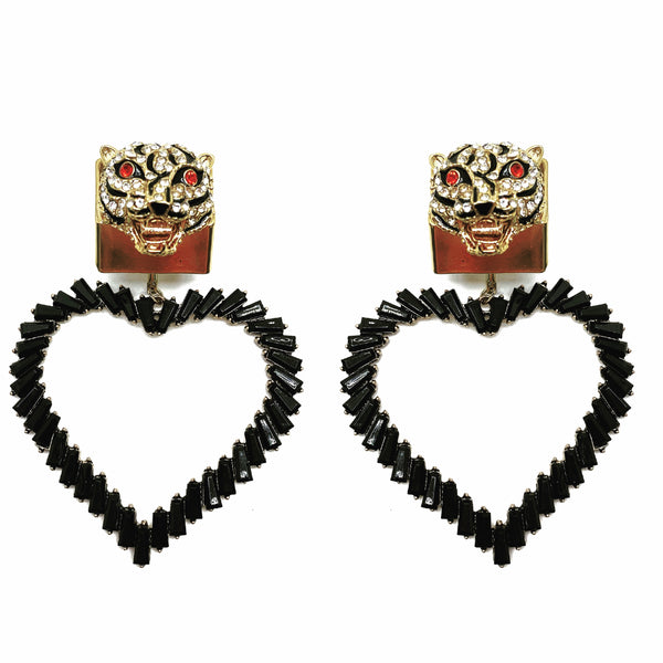 CRYSTAL EMBELLISHED DETACHABLE HEART CHARM LEOPARD STUD EARRINGS