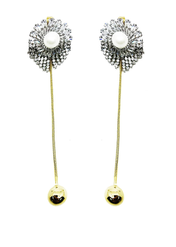 DETACHABLE GLASS CRYSTAL WITH PEARL DROP DANGLING GOLDEN BALL EARRINGS