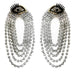 EYE STUD GLASS CRYSTAL CHAIN DROP EARRINGS