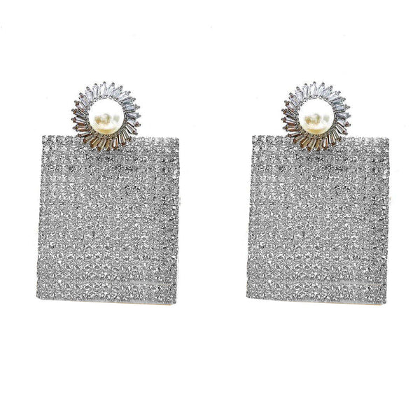 PEARL STUD SQUARED CRYSTAL PAVE DROP EARRINGS