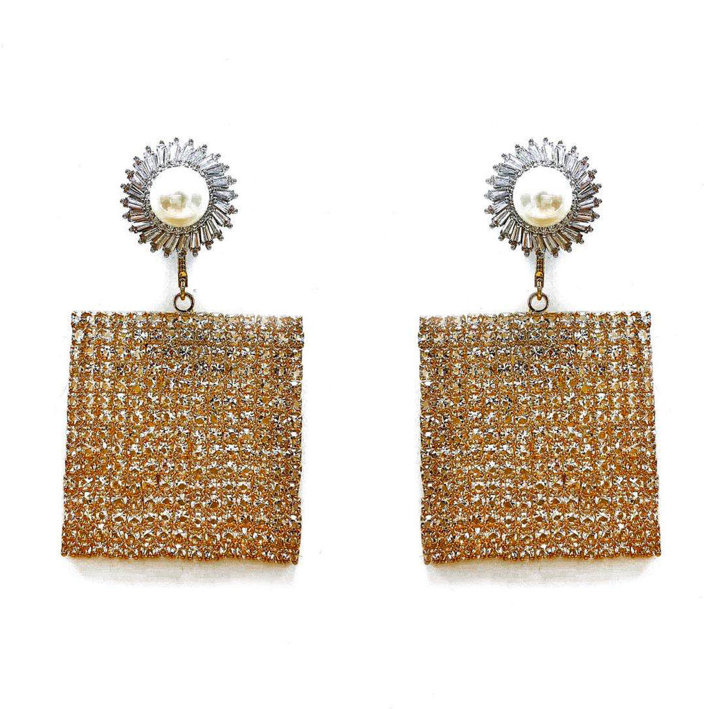 GOLD-TONE METAL CRYSTAL-EMBELLISHED SQUARE-DROP EARRINGS