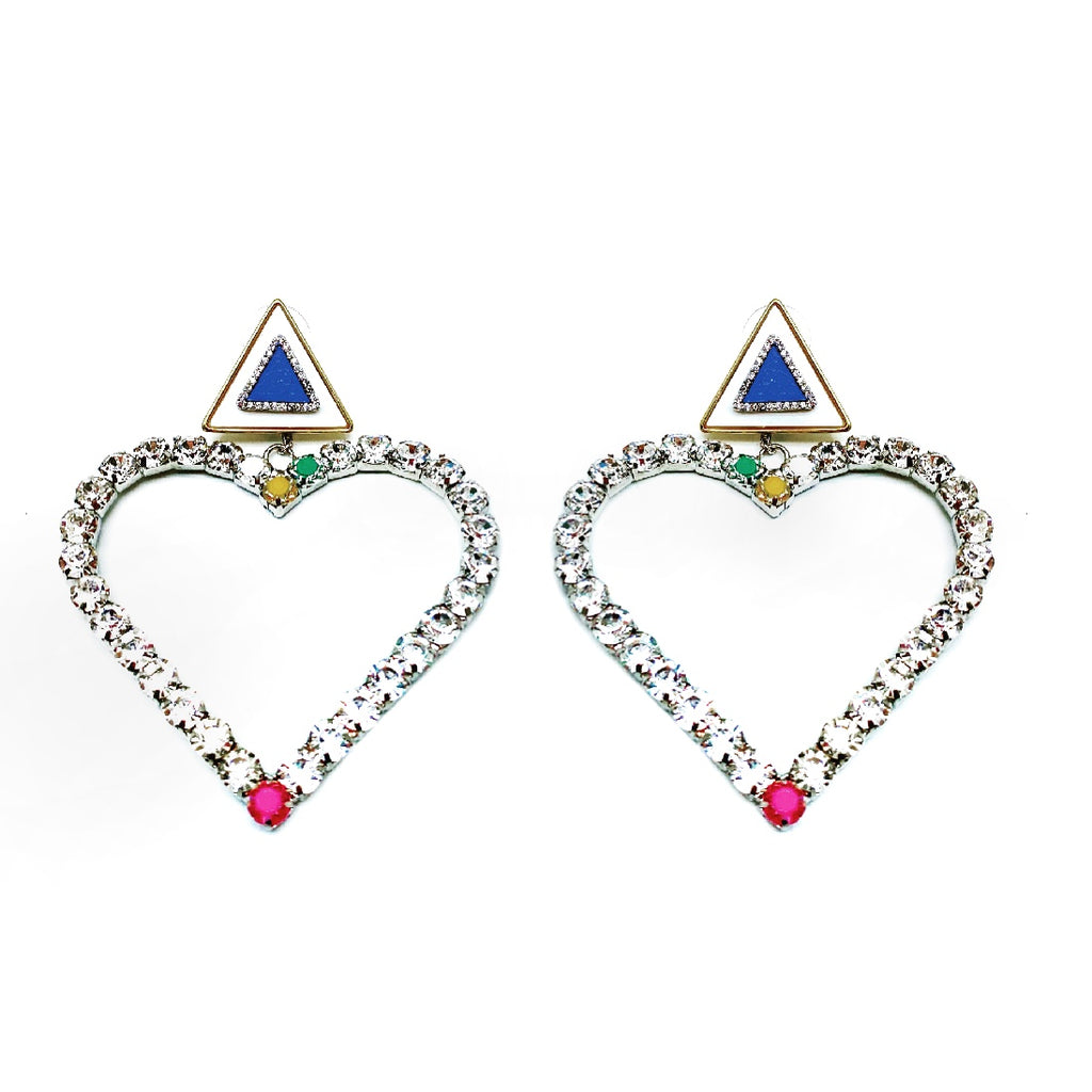 CRYSTAL EMBELLISHED DETACHABLE HEART CHARM TRIANGULAR STUD EARRINGS