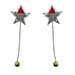 RED TRIANGULAR DETACHABLE STAR DROP EARRING