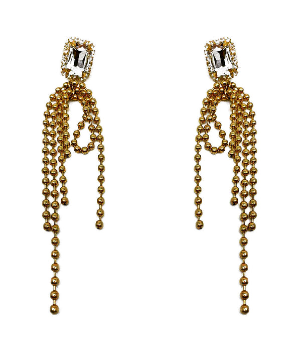 CRYSTAL BALL CHAIN DROP EARRINGS