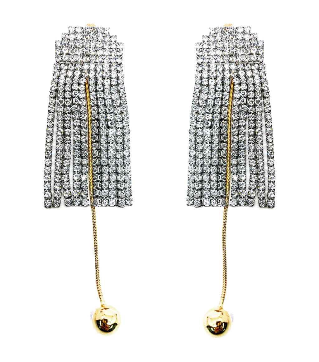 DETACHABLE GLASS CRYSTAL FRINGE WITH DANGLING GOLDEN BALL EARRINGS