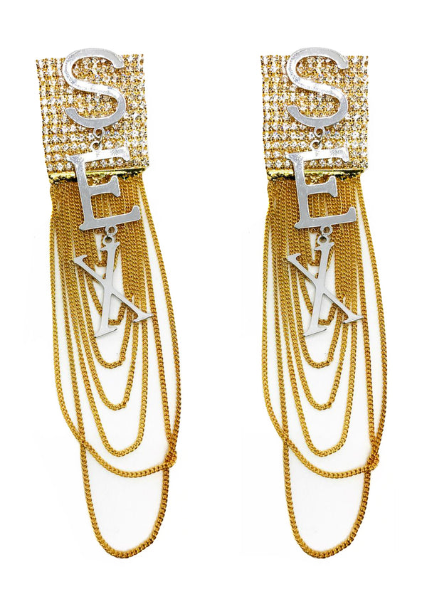 GLASS CRYSTAL ''S.E.X'' DROP WITH GOLD FRINGE CHAINS EARRINGS