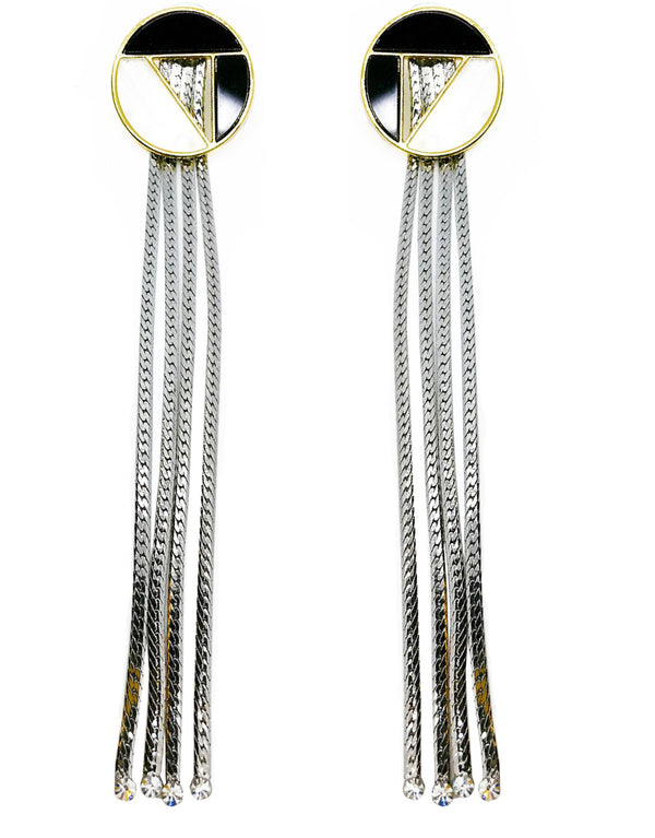 ROUND GEOMETRIC STUD FRINGE DROP EARRINGS