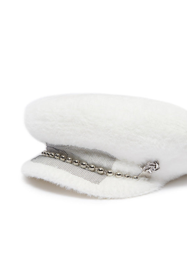Embellished mesh ball chain wool furfelt sailor cap