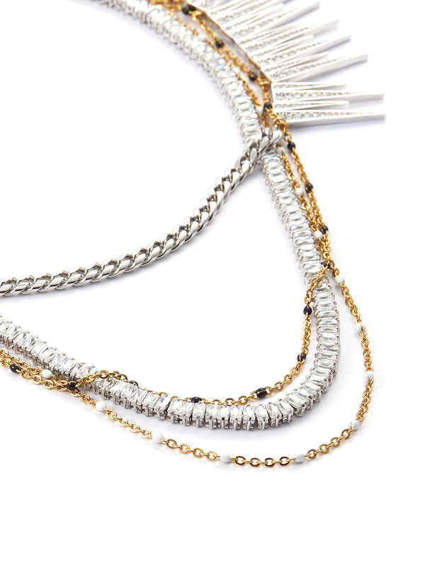 Glass crystal multi chain tiered necklace