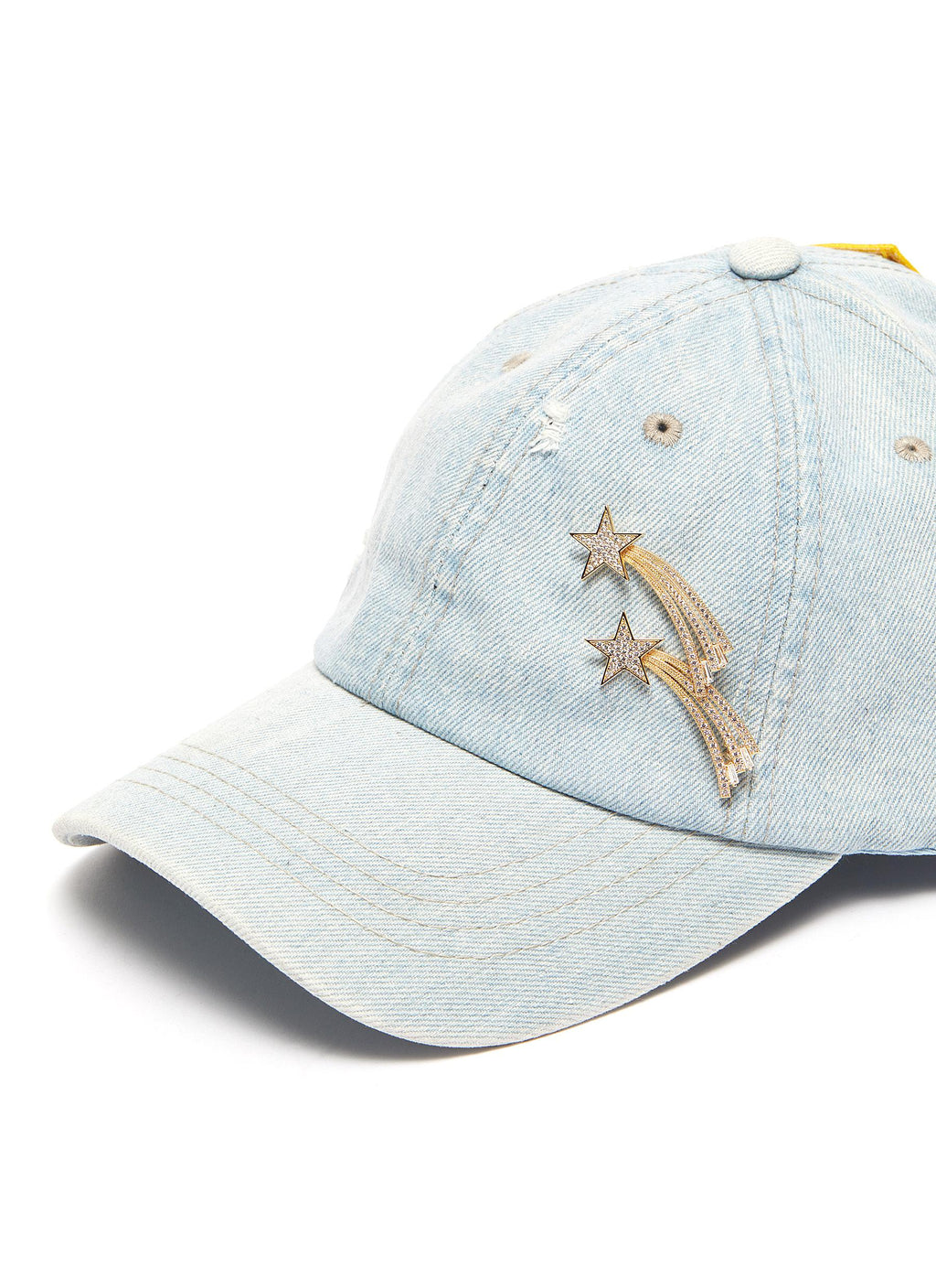 Shooting star pin slogan patch ripped denim baseball cap